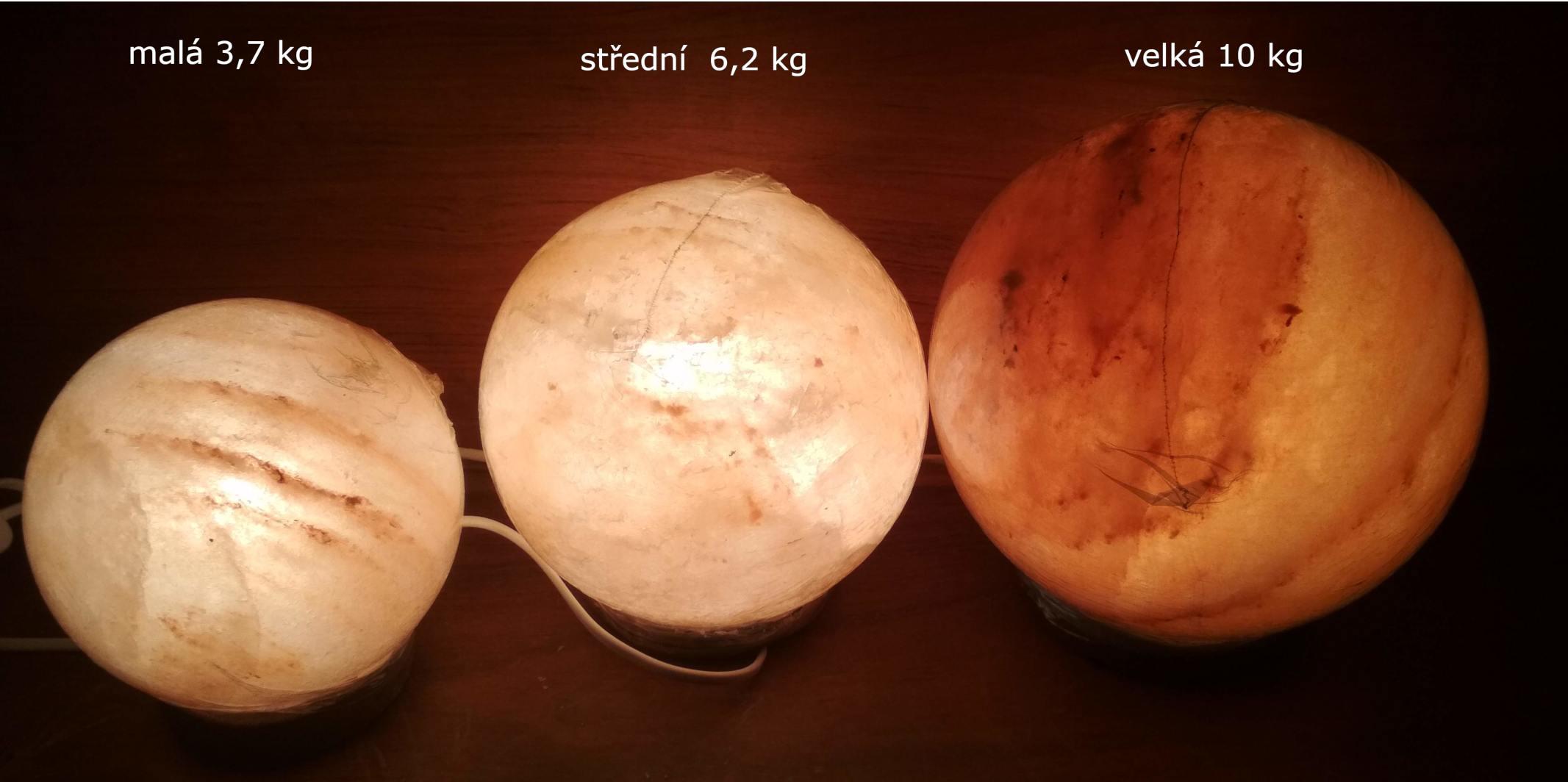 porovnání velikostí solných koulí