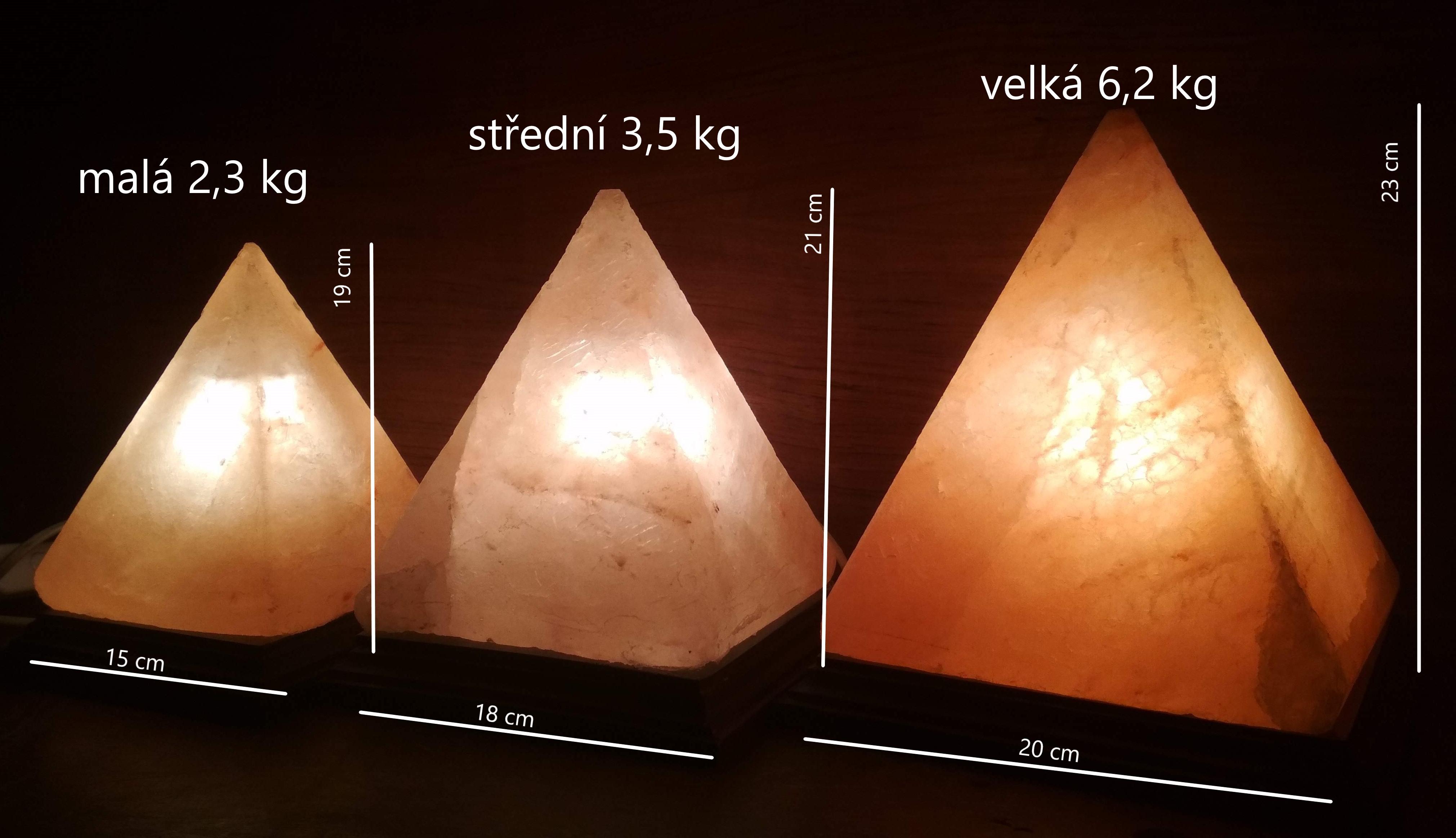 velikosti solné lampy pyramida